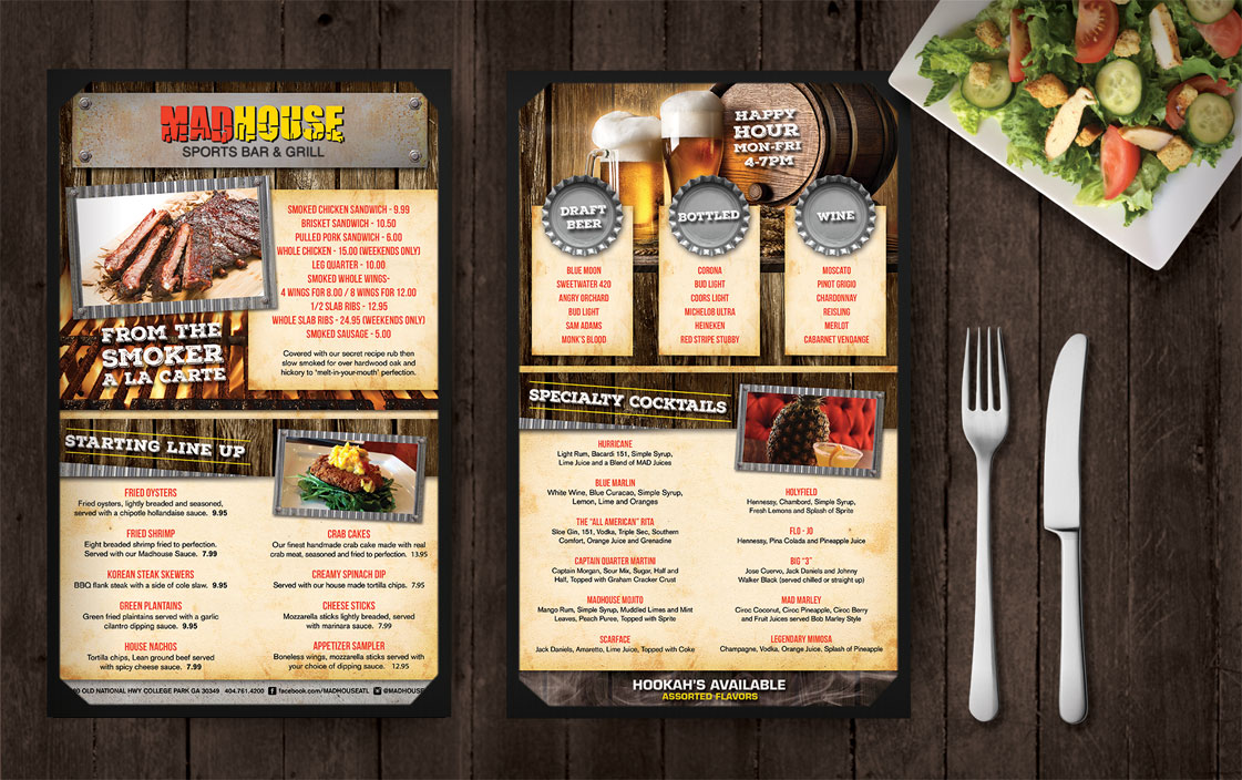 MadHouse Sports Bar & Grill Menu Design